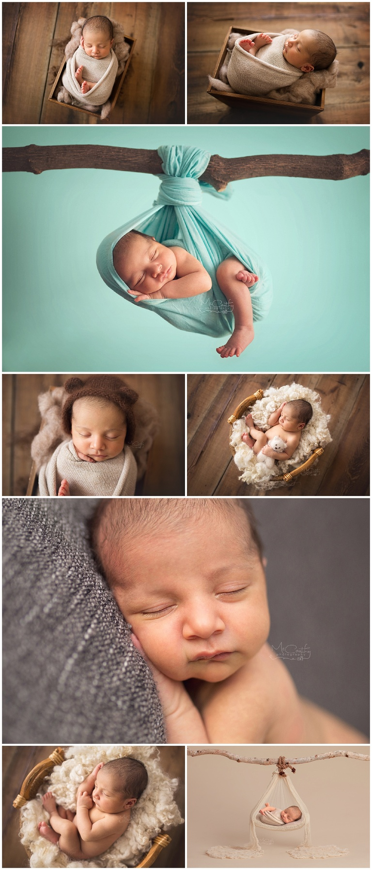 photography collage of newborn session