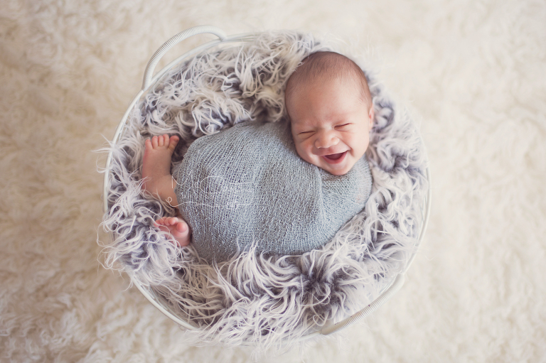 newborn photo session with baby boy