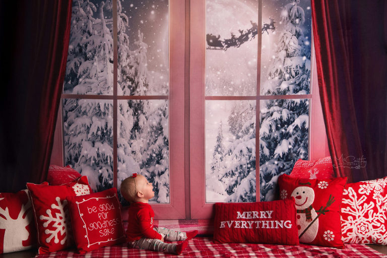 holiday window with santa